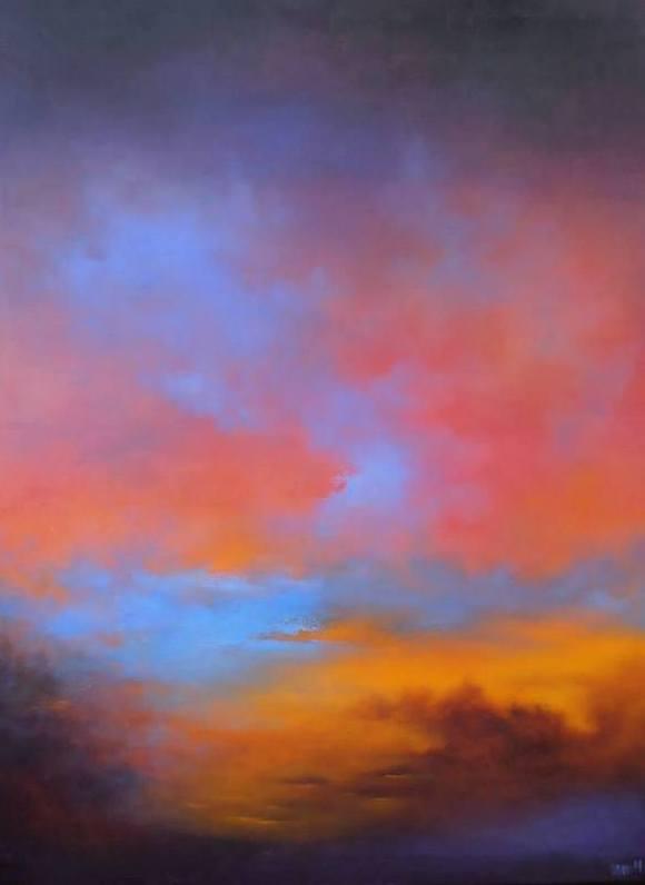 Røde skyer - 2014 - 80X60 - Olie på lærred - 4500 kr.