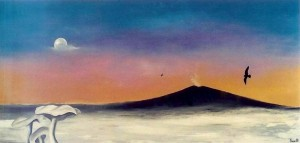 Vulkanen - 1988 - 65X125 - Olie på træplade - Maleri haves ikke længere