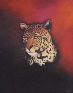 Leopard 1998 - 92X76 - Olie på træplade - privat eje