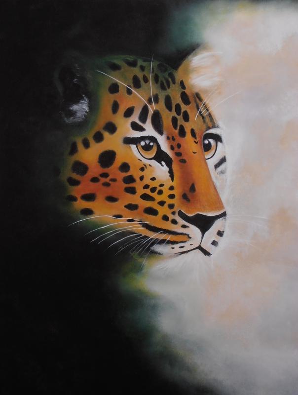 Leoparden -2007 - 113X83 - Olie på træplade - Privat eje